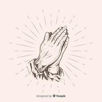 Fondo manos rezando realista