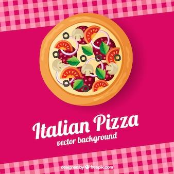Fondo de mantel de cuadros y pizza