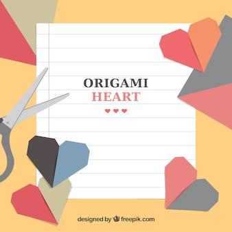 Fondo de manualidades con corazones de origami