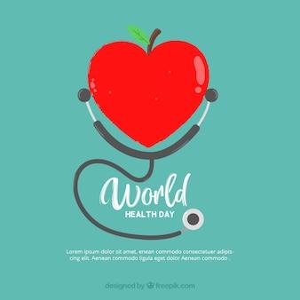 Fondo de manzana con forma de corazón