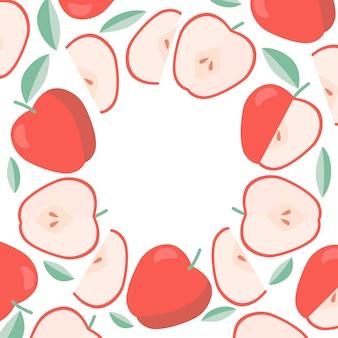 Fondo de manzanas marco redondo