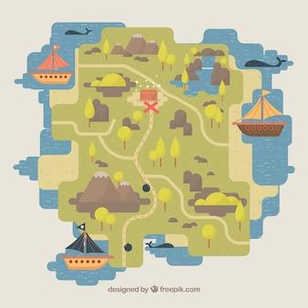Fondo de mapa y barcos pirata en diseño plano