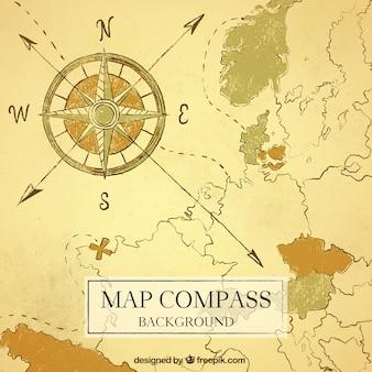 Fondo de mapa y brújula