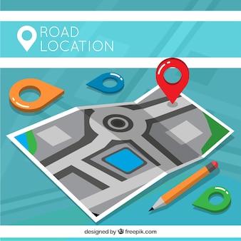 Fondo de mapa de carretera con localizadores