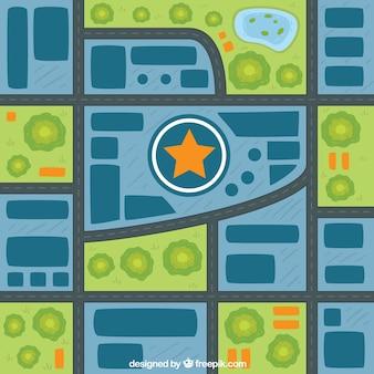 Fondo de mapa de ciudad con estrella en el centro