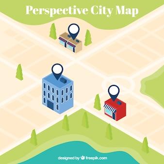 Fondo de mapa de ciudad en perspectiva