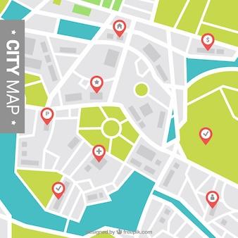 Fondo de mapa de la ciudad con punteros