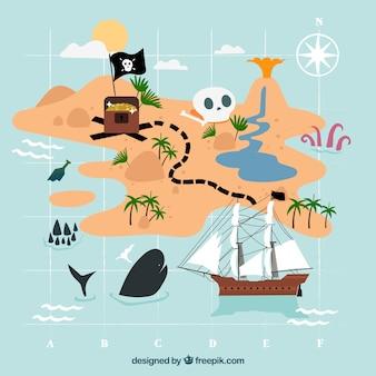 Fondo de mapa y elementos piratas