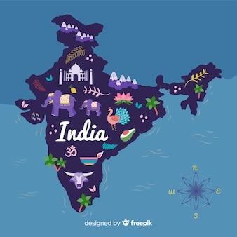 Fondo mapa de la india dibujado a mano