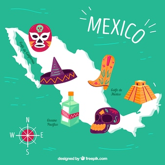 Fondo de mapa mexicano con elementos