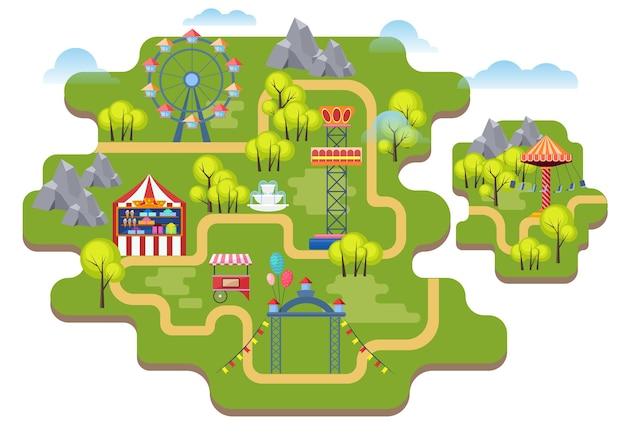 Fondo de mapa de parque de atracciones de dibujos animados.