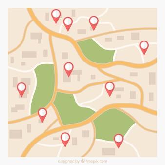 Fondo de mapa vial con punteros
