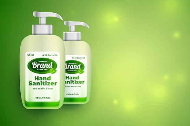 Fondo de maqueta de concepto de botella verde desinfectante de manos