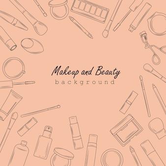 Fondo de maquillaje y belleza