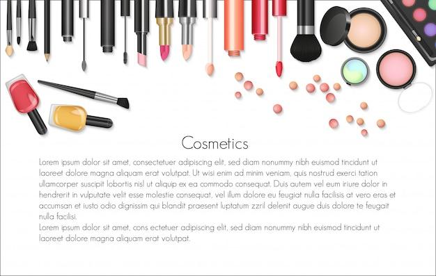 Fondo de maquillaje de cosméticos de belleza