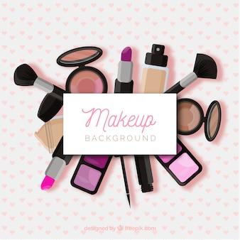 Fondo de maquillaje con cosméticos realistas