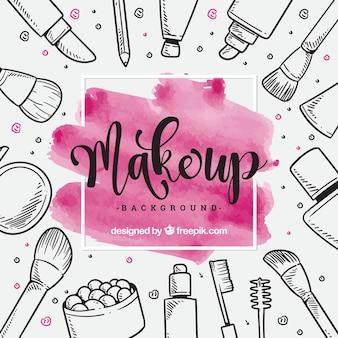 Fondo de maquillaje con elementos dibujados a mano