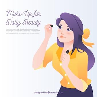 Fondo de maquillaje con mujer joven
