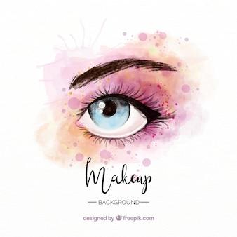 Fondo de maquillaje con ojo en acuarela