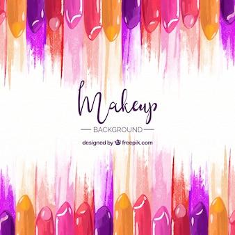 Fondo de maquillaje con pintalabios coloridos
