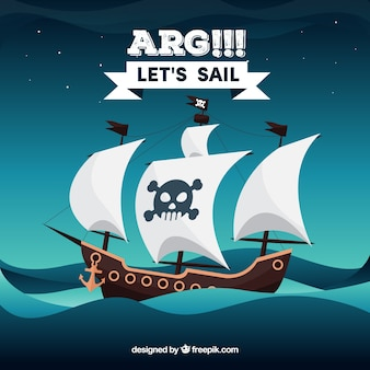 Fondo del mar con barco pirata