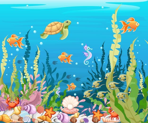 Bajo el fondo del mar paisaje de vida marina: el océano y el mundo submarino con diferentes habitantes. para imprimir, crear videos o diseño gráfico web, interfaz de usuario, tarjeta, póster.