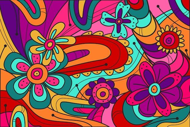 Fondo maravilloso de color ácido dibujado a mano plana