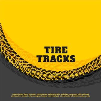 Fondo de marca de huella de neumático amarillo