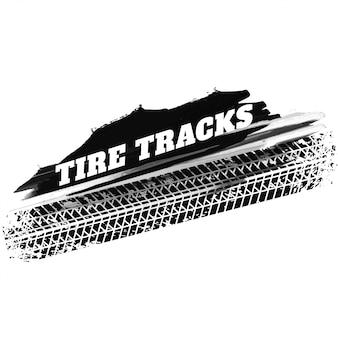 Fondo de marcas de impresión de pista de neumático negro grunge