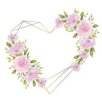 Fondo de marco de amor floral con claveles rosados