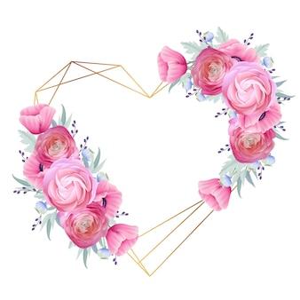 Fondo de marco de amor con ranúnculos florales y flores de amapola