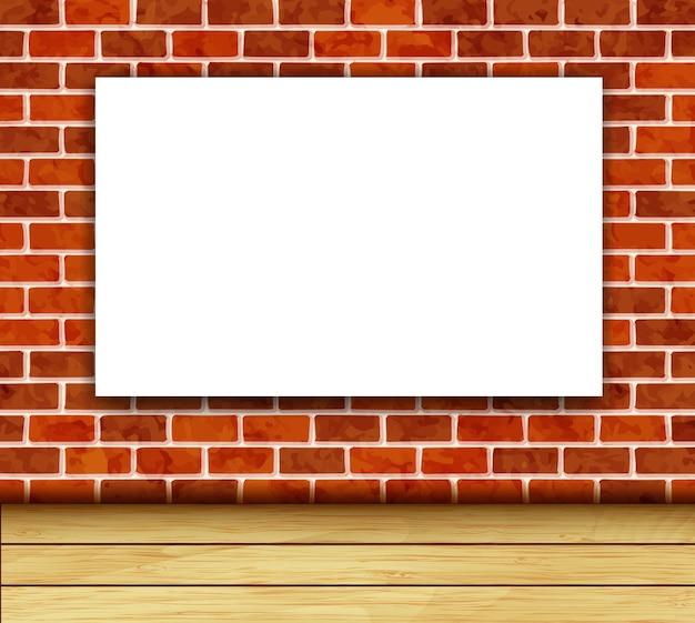 Fondo con marco blanco en la pared de ladrillo
