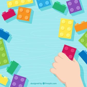 Fondo con marco de bloques multicolor