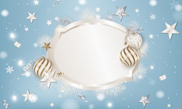 Fondo de marco con bolas de navidad, ramas de abeto blanco, estrellas 3d, copos de nieve, serpentina.