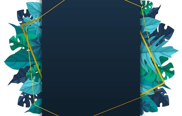Fondo de marco de borde de hoja de verano de planta tropical verde polígono