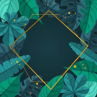Fondo de marco de borde de hoja de verano de planta tropical verde rectangular