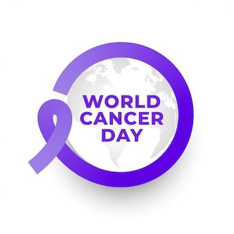 Fondo de marco de cinta del día mundial del cáncer