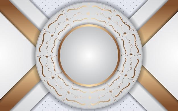Fondo de marco de círculo blanco de lujo con decoración de luz dorada