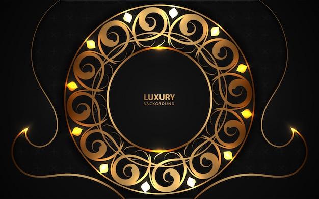 Fondo de marco de círculo negro de lujo con decoración de luz dorada