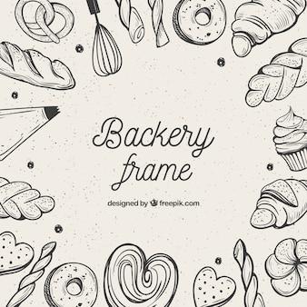 Fondo de marco de comida de panadería