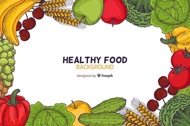 Fondo marco comida saludable