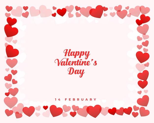 Fondo de marco de corazones de día de san valentín