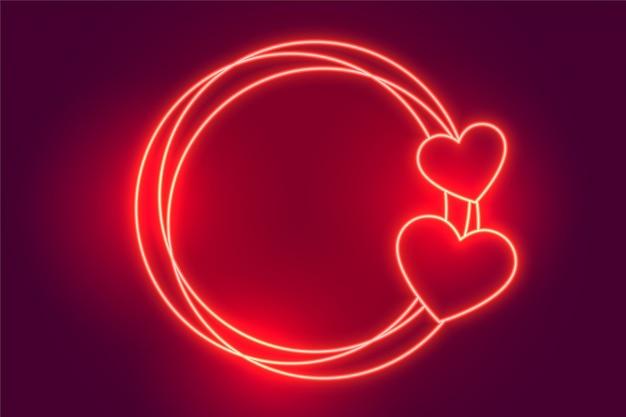 Fondo de marco de corazones de neón rojo brillante