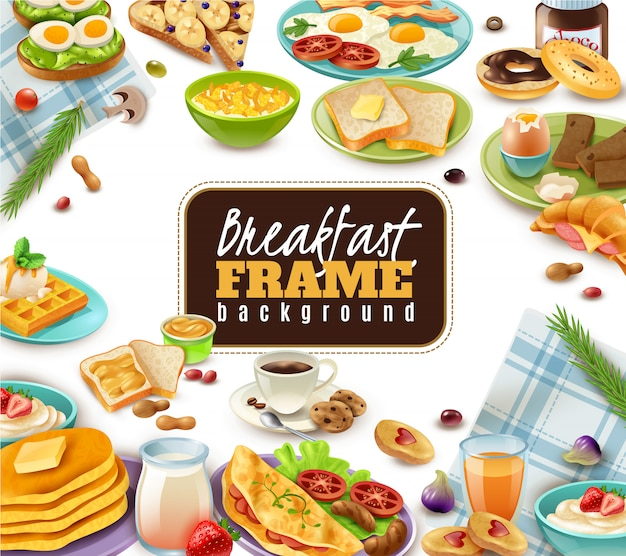 Fondo de marco de desayuno