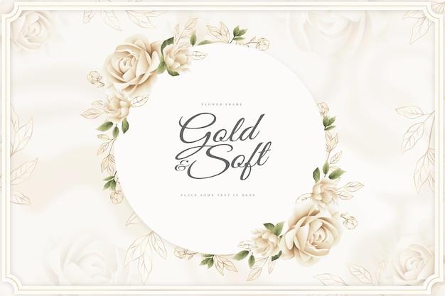 Fondo de marco dorado y flor suave
