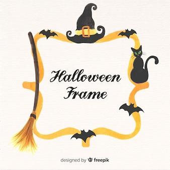 Fondo con marco dorado de halloween en acuarela