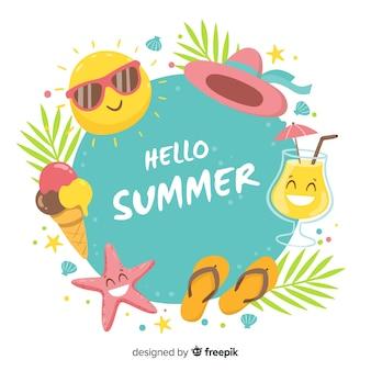 Fondo marco de elementos de verano