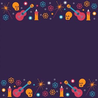 Fondo del marco festival del día muerto con símbolos principales de vacaciones