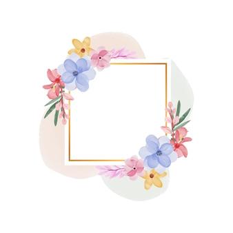 Fondo de marco de flor de acuarela