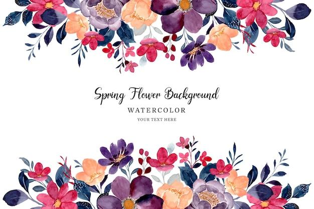 Fondo de marco de flor de primavera con acuarela de flores burdeos